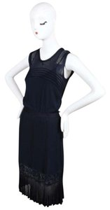 Chanel 06p Navy Slinky Knit Lace Trim Pleated Sl Dress