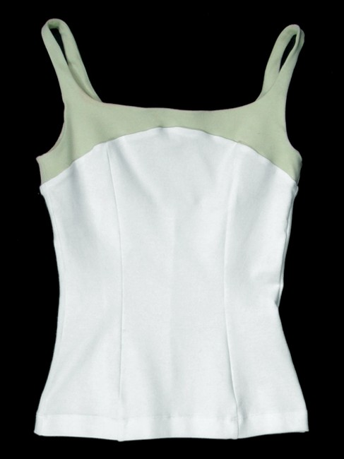 Narciso Rodriguez Cotton Two-tone Fitted Corset Top White, Green