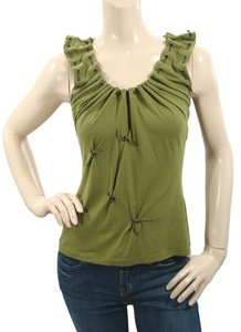 Philosophy di Alberta Ferretti Sleeveless Lace Leather Grommet Studded T Shirt Green, Olive
