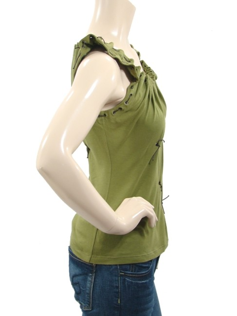 Philosophy di Alberta Ferretti Sleeveless Jersey Lace Leather Grommet Studded T Shirt Green, Olive