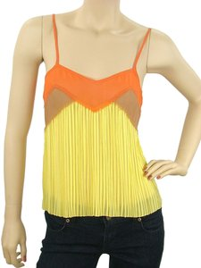 Philosophy di Alberta Ferretti Pleated Two-tone Silk Empire Waist Sheer Chiffon Top Yellow, Orange
