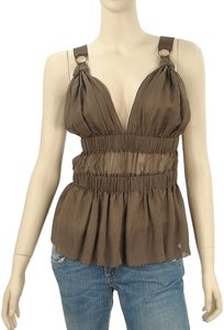 Philosophy di Alberta Ferretti Sheer Sleeveless Pleated Silk Chiffon Top Brown