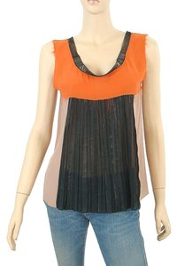 Philosophy di Alberta Ferretti Embellished Beaded Sleeveless Top Orange, Black, Pink