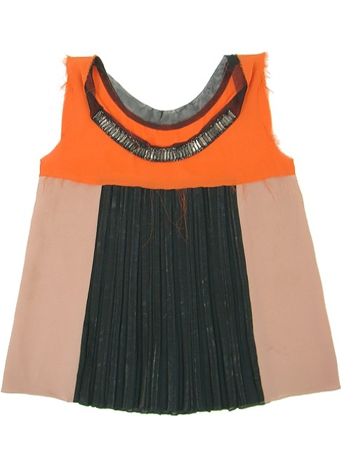 Philosophy di Alberta Ferretti Embellished Beaded Sleeveless Silk Chiffon A-line Tulle Sequin Top Orange, Black, Pink