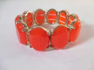 J.Crew J.crew Gold-plated Oval Stone Stretch Bracelet Red Item 63323