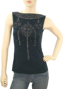 Philosophy di Alberta Ferretti Metallic Hardware Beaded Sleeveless Top Black