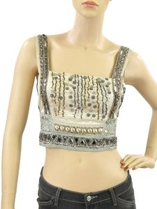 Philosophy di Alberta Ferretti Silk Embellished Beaded Sequin Satin Mirror Silver Hardware Top Ivory