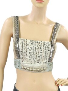 Philosophy di Alberta Ferretti Metallic Metallic Hardware Beaded Silver Silver Hardware Embellished Sequin Leather Silk Top Ivory, Cream