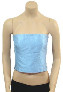 Ralph Lauren Strapless Silk Sleeveless Top Blue