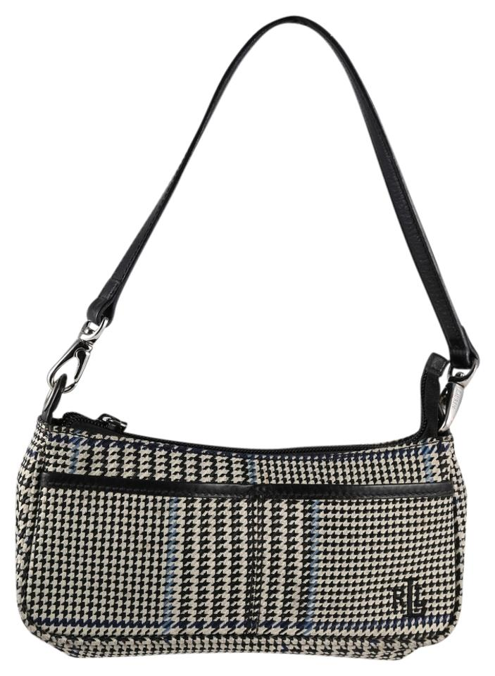 0ecd3dc397a1 Ralph Lauren   Herringbone Off White Blue Black Tweed Shoulder Bag ...