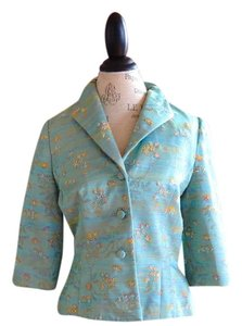 Carmen Marc Valvo Vintage Beaded Turquoise with Floral Evening Blazer
