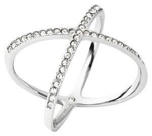Michael Kors Michael Kors Silver-Tone Pave Clear Crystal X Ring size:6 with dust bag
