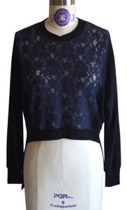 BCBGMAXAZRIA Lace Sheer Black Black Face Sweater