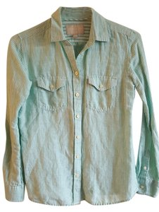 Banana Republic Great Detail Button Down Shirt Mint Gteen/White Fine Stripes