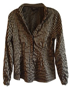 Alfani Rich Button Down Shirt Black/Gold Stripes
