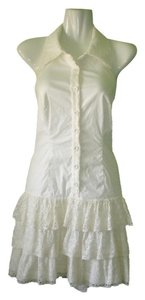 bebe short dress Off White Ruffles Eyelet White Sleeveless on Tradesy