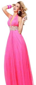 Tarik Ediz Size 12 Chiffon Fuchsia Evening Gown Prom Dress