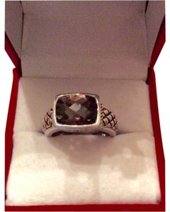 Italian Collection Smokey Quartz-Silver & Gold Ring