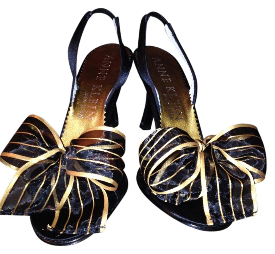 Anne Klein Black and In Gold Sheer Ribbon Bow In and Formal Shoes 0abd58