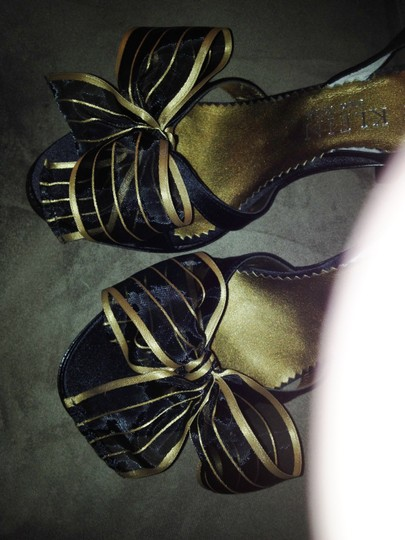 Anne Klein High Heels Sheer Trim Black and Gold Formal