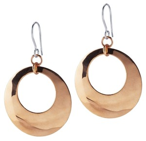 Other Modern Designer .925 Sterling Silver Earrings with Domed Copper Circle Dangles by BrianG