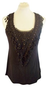 Anthropologie Deletta Applique Night Out Date Night Resort Top Charcoal Grey