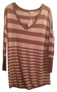 Joie Cashmere Striped Camel Tan V-neck Sweater