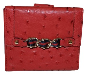 Gucci Authentic Gucci Red Ostrich Leather Wallet