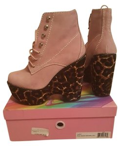 Jeffrey Campbell Leopard Wedge Suede Hair pink Boots