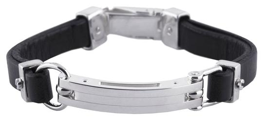 Other Edgy Chic .925 Sterling Silver Bracelet with Black Leather by BrianG