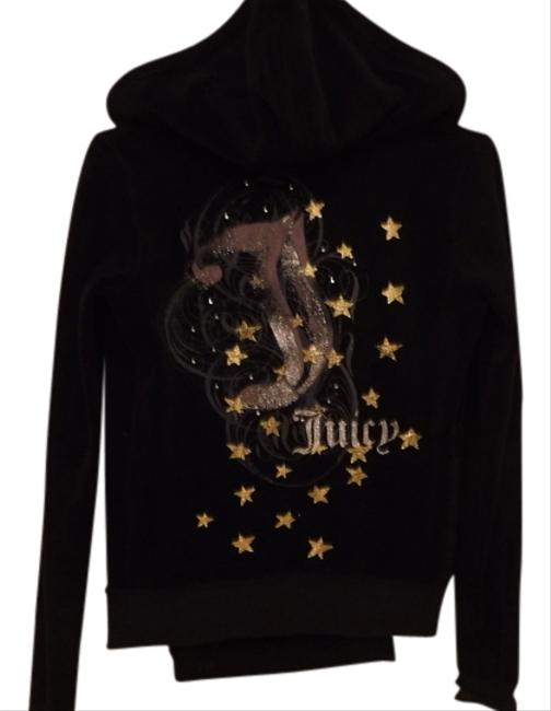 Item - Black and Gold Velvet Vintage Hoodie Activewear Outerwear Size 0 (XS, 25)