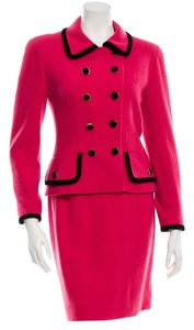 Chanel Chanel Jacket blazer Skirt Suit Wool Boucle Tweed Silk Lining Hot Pink Black CC Logo Gold Hardware Buttons