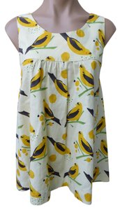 Lucy Love Bird Print Apron Pinafore Summer Spring Resort Warm Temps Beach Size Large Cotton Vacation Top Yellow