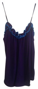Rebecca Taylor Tank Summer Casual Ruffle Top Purple/Aqua