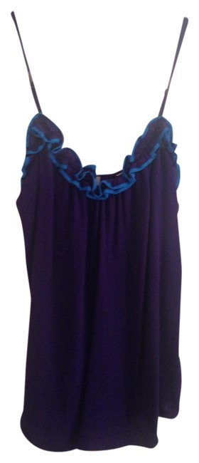 Rebecca Taylor Tank Summer Casual Ruffle Silk Top Purple/Aqua