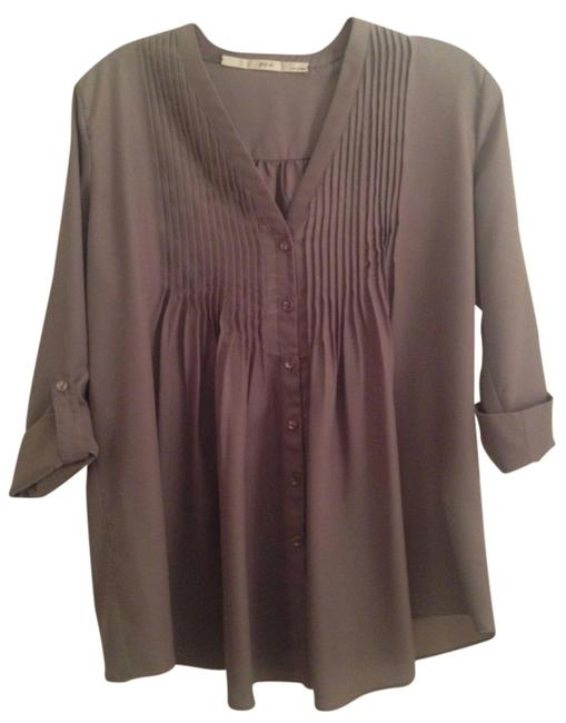 Gibson Blouse V-neck 3/4 Sleeves Three-quarter Sleeves Button Down Shirt Tan/Grey