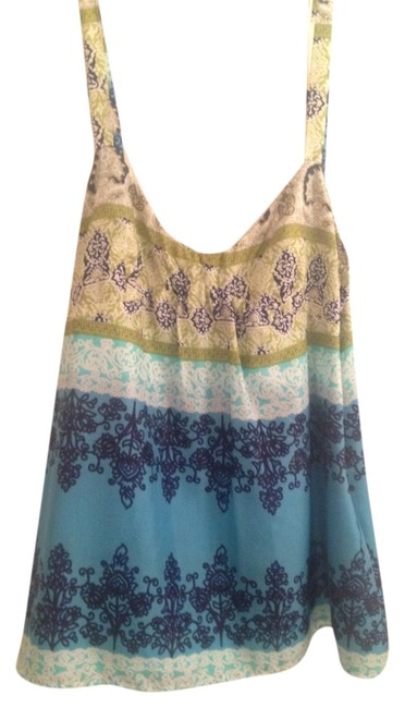 Velvet by Graham & Spencer Tank Blouse Straps Pattern Top Blue/Green