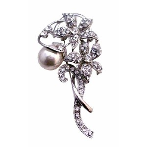 Fashion Jewelry For Everyone Silver Simulated Diamond Sparkling Flowers 10mm White Pearls Vintage Brooch/Pin