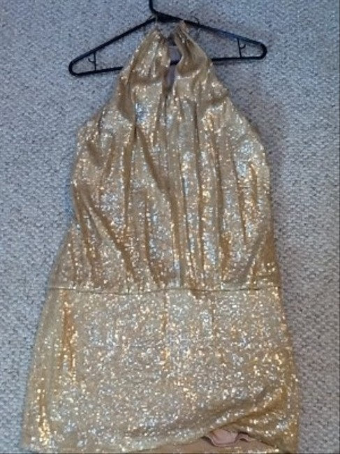 Laundry by Shelli Segal Halter Style Going Occasion Gold Glitter Sparkle Dress