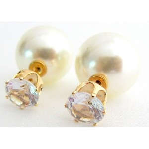 Fashion Jewelry For Everyone Double Sided Cz Pearl Earrings Bridal Bridesmaid Earrings