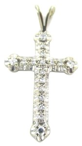 14kt SOLID White Gold Cross with 17 Diamonds Pendant for Sale!!!