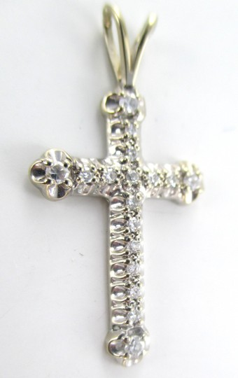 Other 14kt SOLID White Gold Cross with 17 Diamonds Pendant for Sale!!!