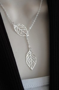 New silver plated Leaf Necklace Lariat Necklace