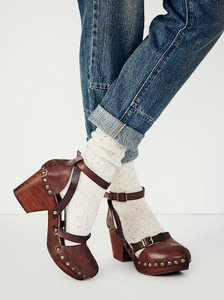 Free People Anthropologie Anthro Urban Outfitters Hasbeens No. Rivets Oxblood Mules