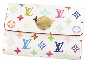 Louis Vuitton Authentic Louis Vuitton Multicolore Monogram White Card Holder w/ Natural Interior
