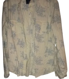 American Eagle Outfitters Button Down Shirt White/blue Floral