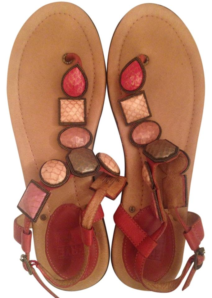 Frye Pink/Tan Gemstone Leather Gemstone Pink/Tan Stone Flat Sandals b852e6