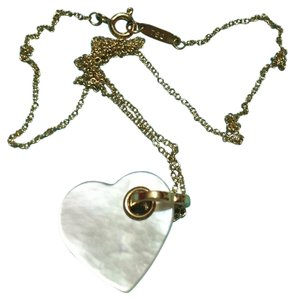 Tiffany & Co. TIFFANY & CO - Solid 18k 18kt Gold Mother of Pearl HEART Pendant and 16