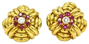 Tiffany & Co. Vintage Tiffany & Co. Diamond & Rubies in 18k Yellow Gold Earrings Circa 1940s