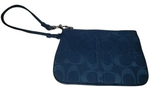 Coach Purse Logo C Wristlet in Teal Blue
